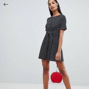 Boohoo tie front mini dress in polka dot